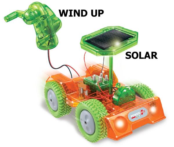 Grasshopper wind up solar car