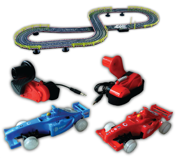 Wind up slot racing car and track