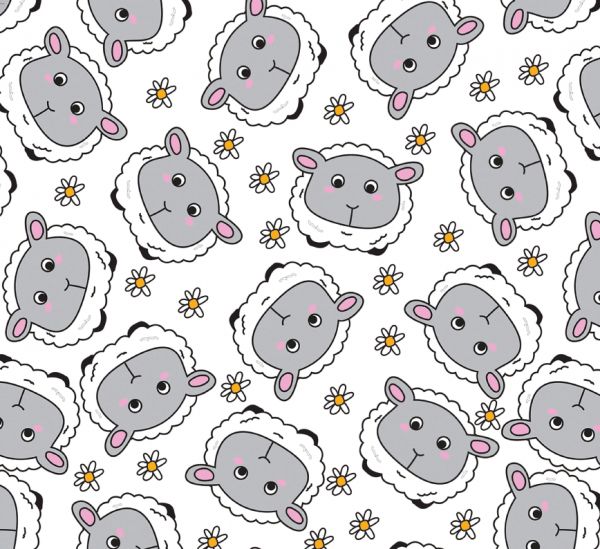 Sheep and daisies recycled wrapping paper
