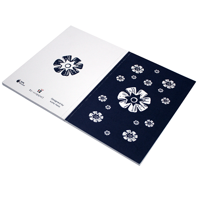 Woodblock recycled flower notebook