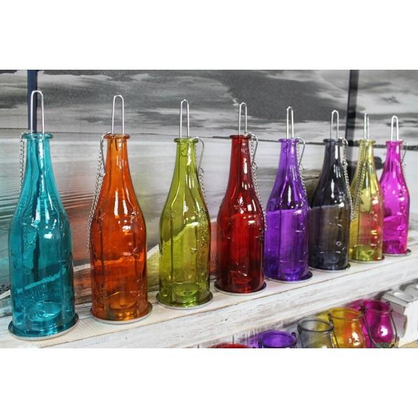 Recycled glass bottle garden lantern