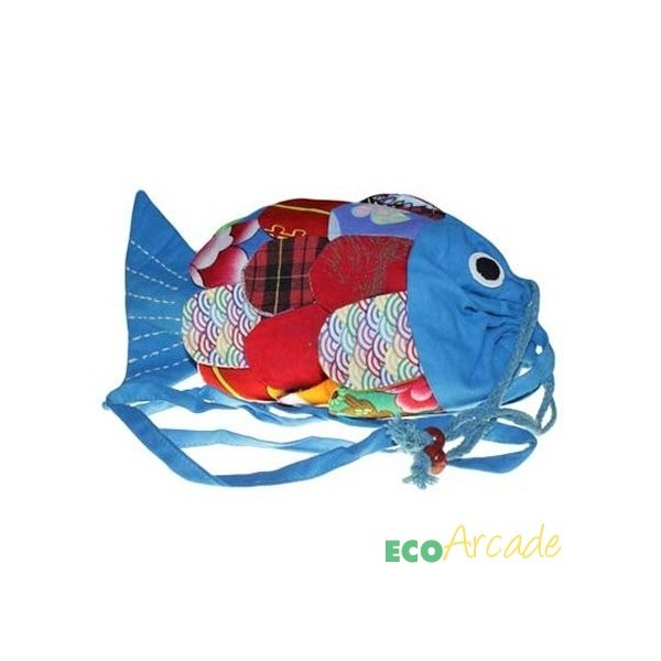 Recycled cotton and jute fish bag - blue