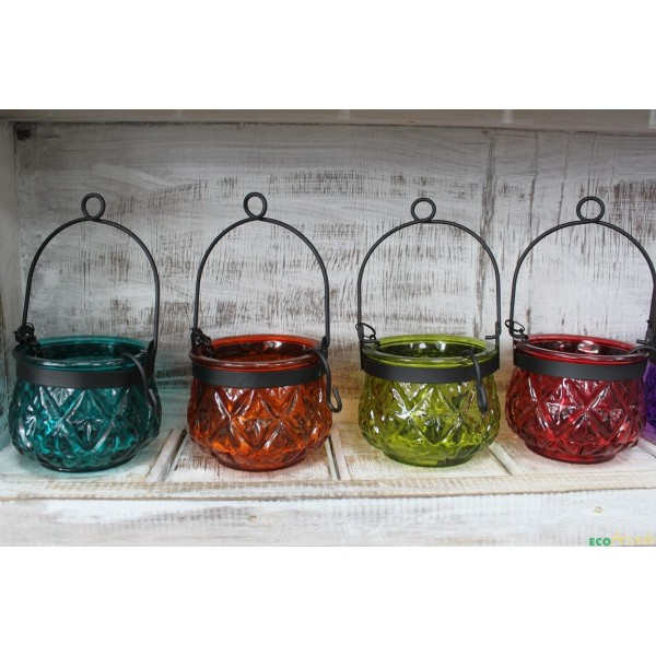 Recycled glass Moroccan style garden lantern