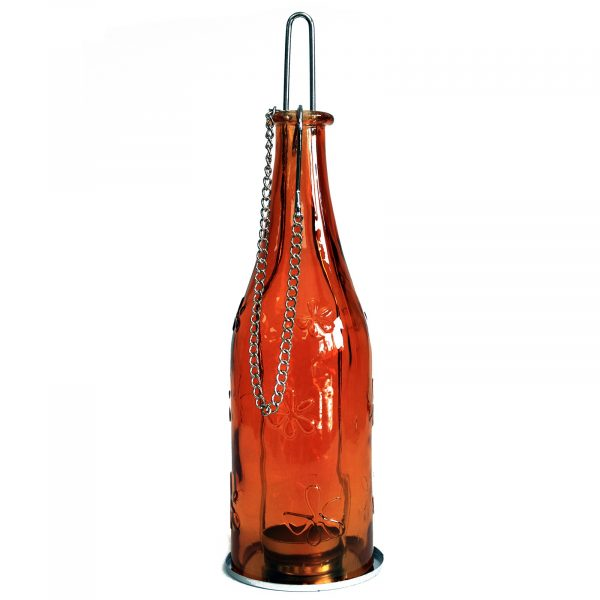 Recycled glass bottle lantern amber