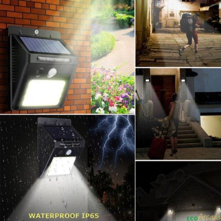 LED wall light solar powered with PIR detector and night sensor