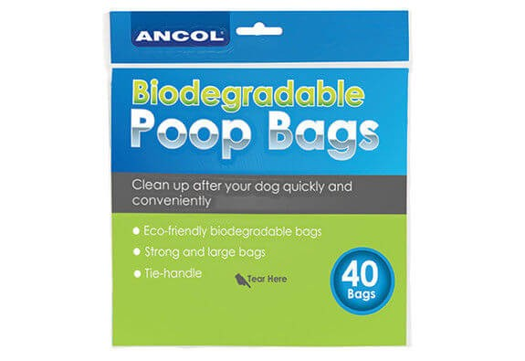 Biodregradable dog poop bags with tie handles