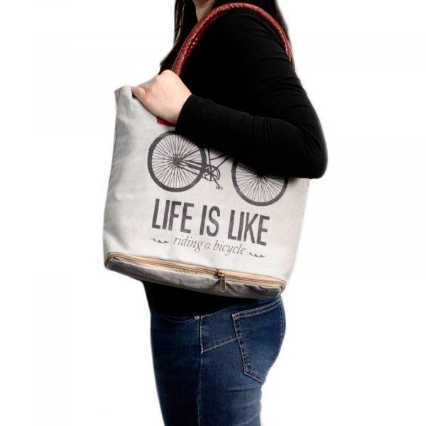 Vintage Art bag bicycle life