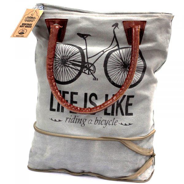 Vintage Art bag bicycle life is like