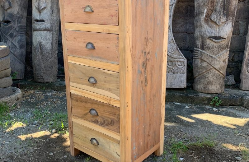 5 draw recycled wood chest of drawers
